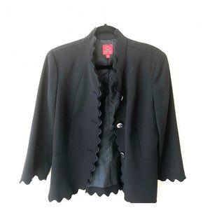 Oscar de la renta scalloped black blazer